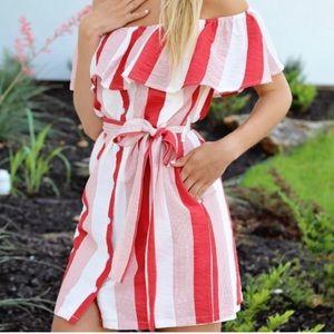 Vici Amaya Pocketed Off Shoulder Dress